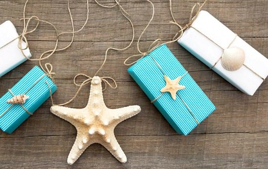 Simple Gift Wrapping with Shells and Twine
