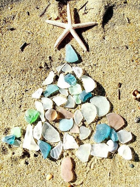 Seaglass Christmas Tree on the Beach Photo