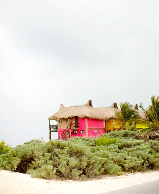 Thatched Roof Houses in Tulum Mexico