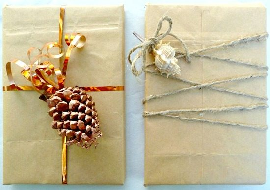 Twine Gift Wrap with Seashell