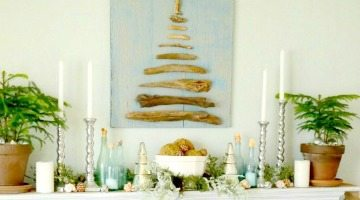 Beach Inspired Christmas Mantel that Shimmers and Shines