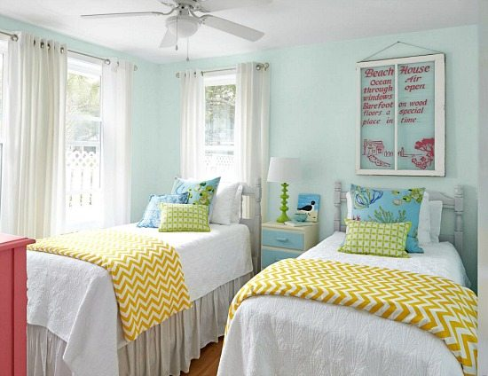 Colorful beach cottage remodel from hgtv magazine beach Blue beach bedroom ideas