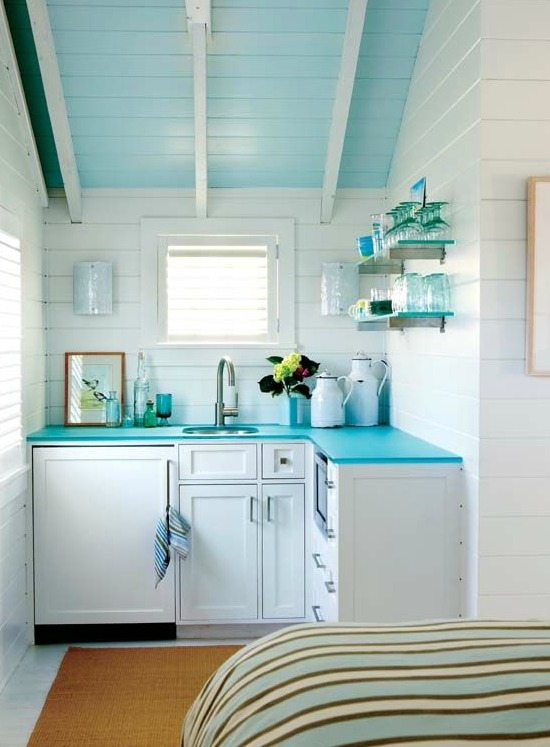 Blue Kitchen Ceiling and Countertop Cottage Style