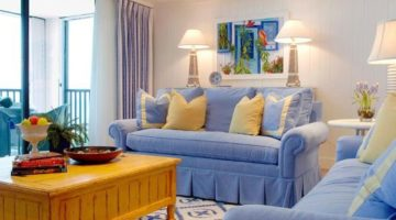 Serene Sanibel Cottage Style Home in Blue & Yellow with some Pink and Florals in the Mix