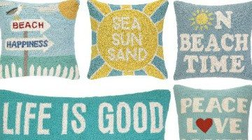 Cuddly Hooked Beach Pillows with Words and Sayings