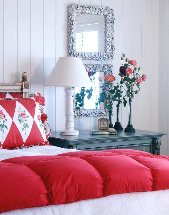 Beach Cottage Bedroom with Oyster Shell Mirrors