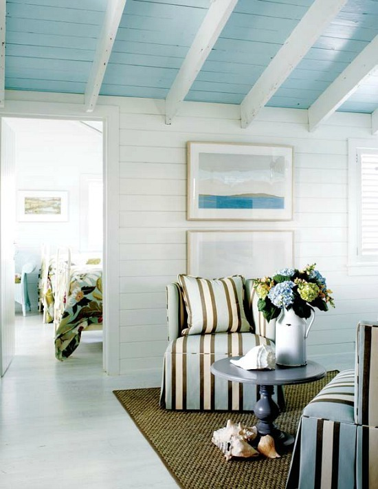 Blue Painted Ceiling in Cottage