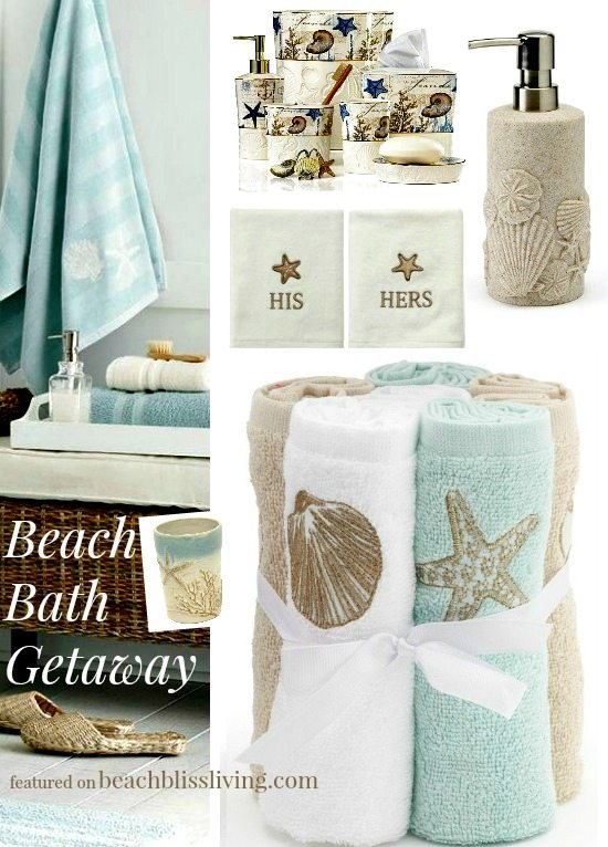 Decorate your bathroom with these beach themed accessories for Beach themed bathroom sets