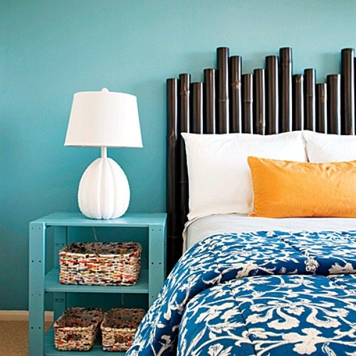 Blue and Orange Bedroom with Urchin Lamp
