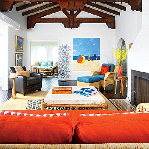 Bright blue and orange for a happy laguna beach home for Orange and blue living room ideas