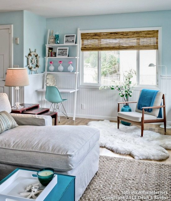 Light Blue Living Room: The Perfect Marriage -Light Blue & Natural Beachy