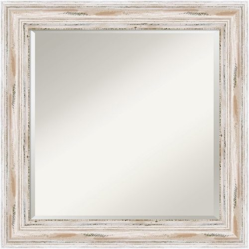 Large White Washed Wood Mirror