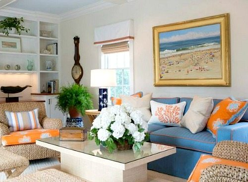 Large Beach Art Above Sofa