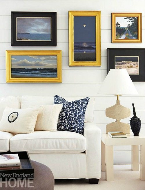Beach Photo Gallery Wall Above Sofa