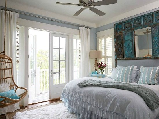 Beach Theme Bedroom with Hanging Chair