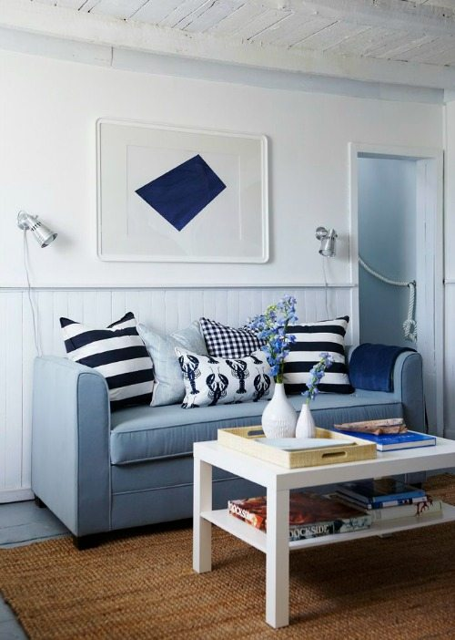 Blue and White Beach Cottage Decor
