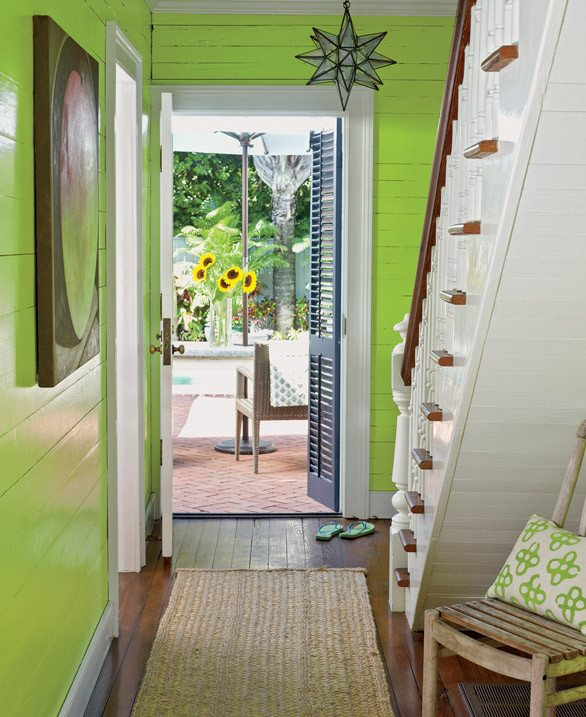 Lemon Green Painted Wall Hallway