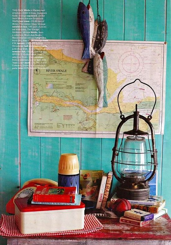 Nautical Beach Cottage Vignette with Old Lantern