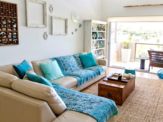 Blue and White Beachy Living Room