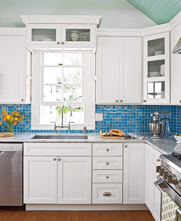 Blue Kitchen Tile Backsplash Cottage Decor