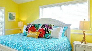 Beach Cottage with Bright Blue, Yellow & Lime Green Painted Walls
