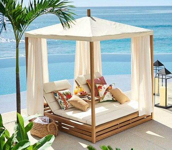 Bring a beach cabana to the backyard for the ultimate for Pool canopy bed