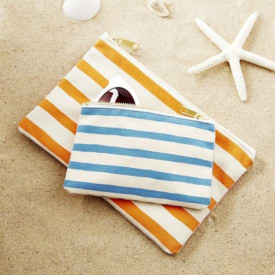 Canvas Pouch with Beachy Stripes