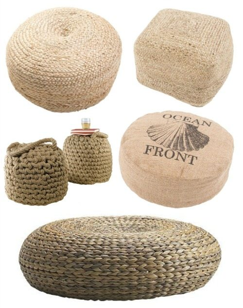 Jute Rope and Rattan Poufs