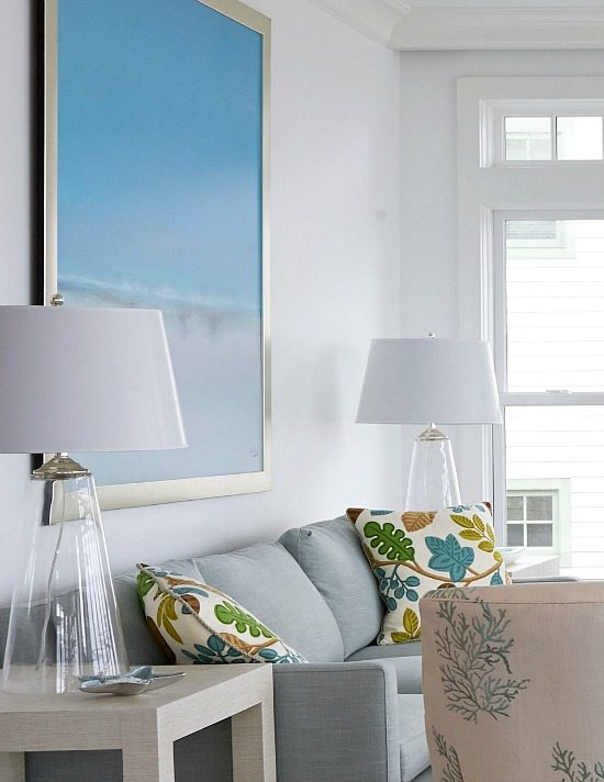 Large Ocean Beach Art above Sofa