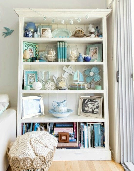 Shelf Decor Styling with a Beach Theme
