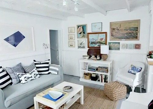 Tiny Cottage Living Room in Blue and White