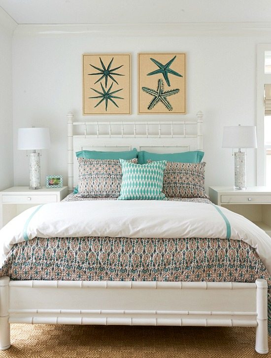 Elegant beach home that lets the art shine in every room - Over the bed wall decor ideas ...