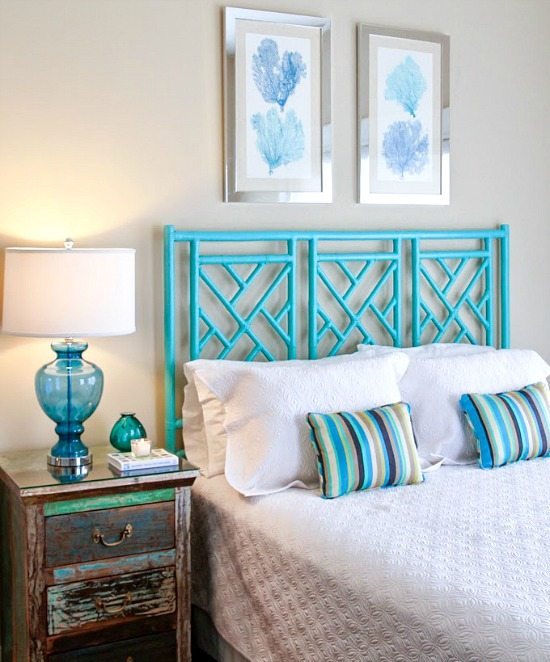 Happy bright blue and green beach home beach bliss Blue beach bedroom ideas