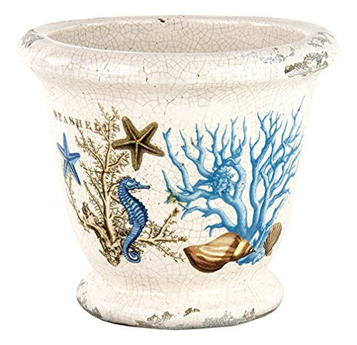 Ceramic Planter with Seashore Beach Design