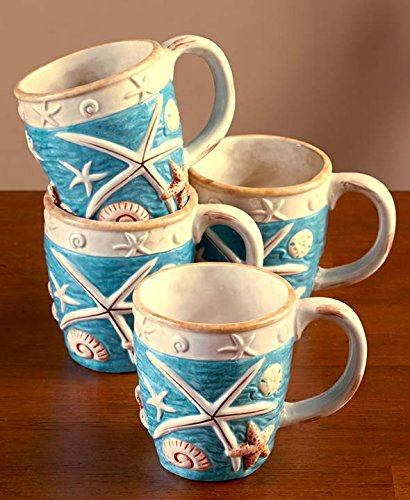 seashell coastal cottage mugs