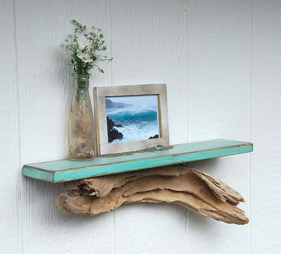 bookshelf base made of driftwood
