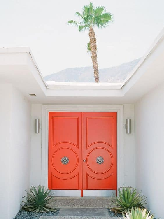 palm springs bright orange double entry doors