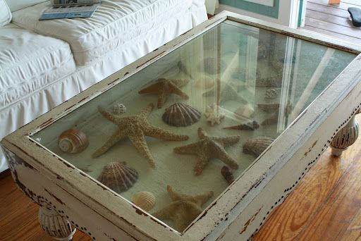 coffee table filled with starfish