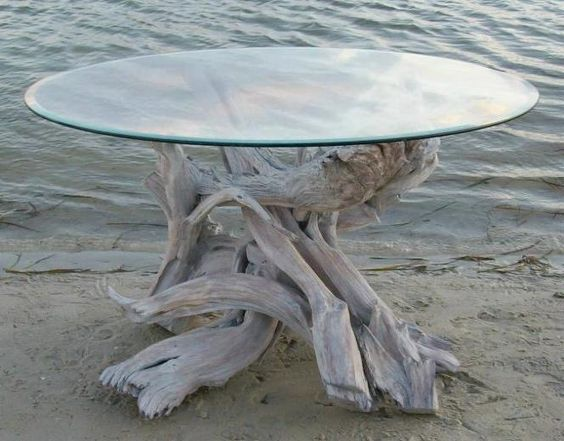 driftwood base for glasstop table