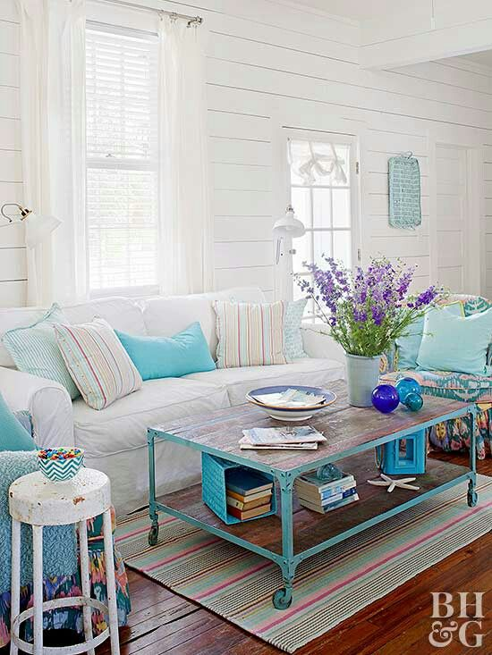 cart style coffee table in blue