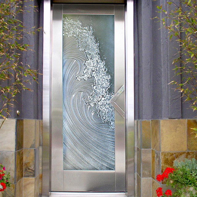 crashing waves etched glass door