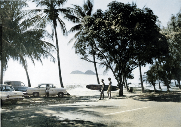 Beach cars and surfing